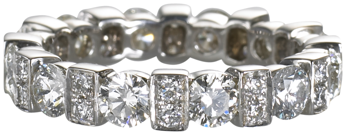 eternity band set with white diamonds on 18k white gold