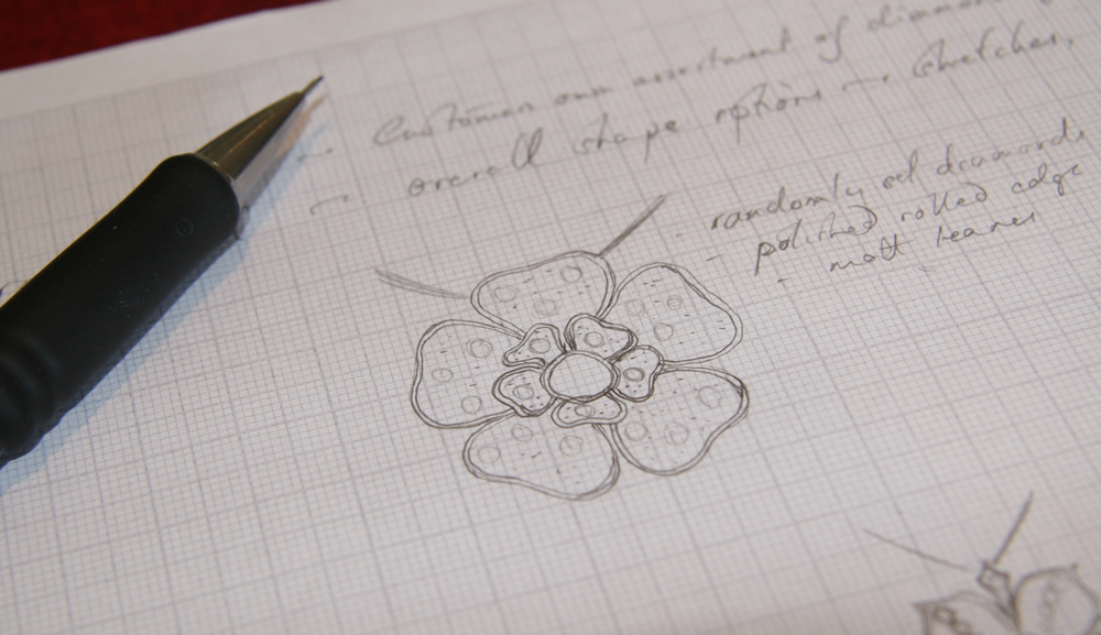 A sketch showing the flower shape the client decided to use