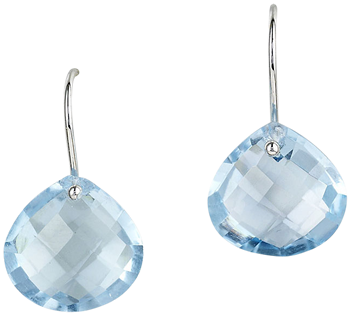 Blue topaz faceted drops on french wires