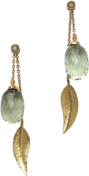 Cocktail long leaf earrings and green quartz acorns