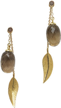 Cocktail long leaf earrings and smoky quartz acorns
