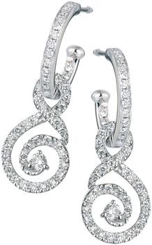 Diamond set hoops with detachable diamond set swirls