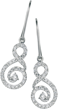 Diamond set swirl Drop earrings