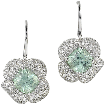 Mint tourmaline and diamond drop earrings