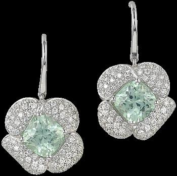 Mint tourmaline and diamond drop earrings