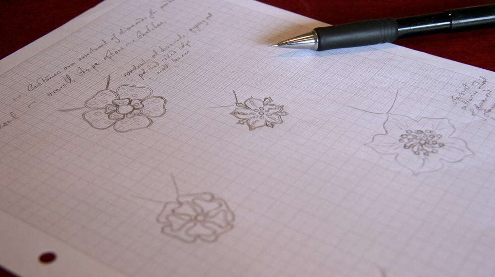 Sketches showing the client a few options for flower designs