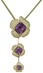 amethyst and peridot 3-rose necklace