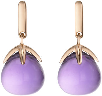 amethyst cabochon drop earrings in rose gold
