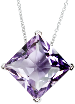 amethyst princess cut pendant on 18k white gold