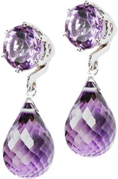amethyst studs with detachable briolette drop
