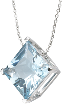 blue topaz princess cut pendant on 18k white gold