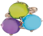 cabohon amethyst peridot and blue topaz rings worn together