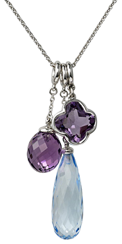 cocktail amethyst acorn and flower and long blue topaz briolette