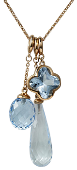 cocktail blue topaz acorn flower and long briolette