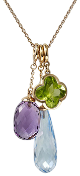 cocktail pendant amethyst acorn peridot flower and long blue topaz briolette