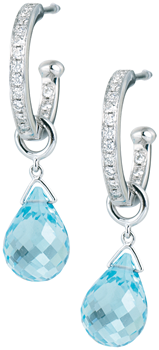 diamond set hoops with detachable blue topaz drops