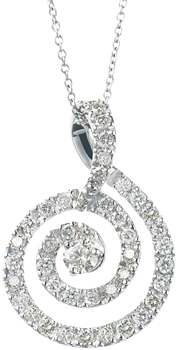 diamond set swirl in 18k white gold
