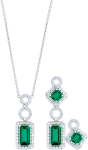emerald and diamond necklace and earrings set