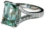 green beryl and diamond dress ring side view