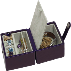 jewellery box showing earrings and rings