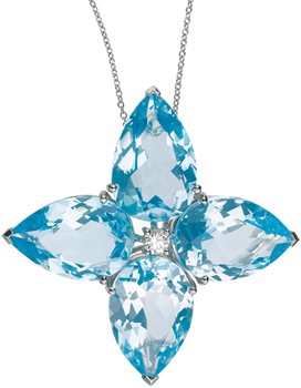 large blue topaz flower pendant with central diamond 30mm wide