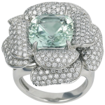 large green beryl and diamond rose ring