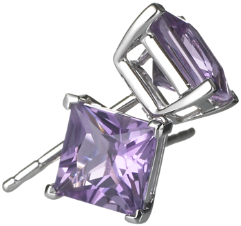 princess cut amethyst studs in 18k white gold