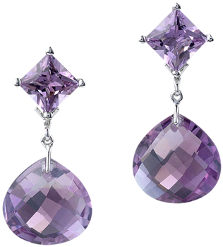 princess cut stud with detachable briolette drop amethyst