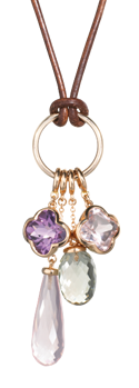 thumb_cocktail amethyst flower long rose quartz briolette and flower and green quartz acorn on gold ring and leather