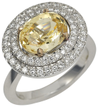 yellow sapphire and diamond two line cluster ring